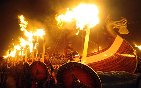 Viking Longboat Burning by Vikings Gather For The Up Helly Aa Festival In Lerwick