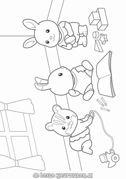 Sylvanian Coloring Families Pages Calico Critters Printable