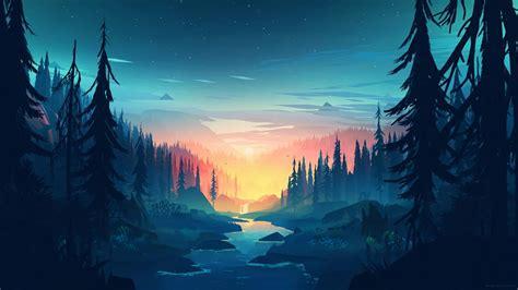 minimal minimalist nature sunrise river  wallpaper