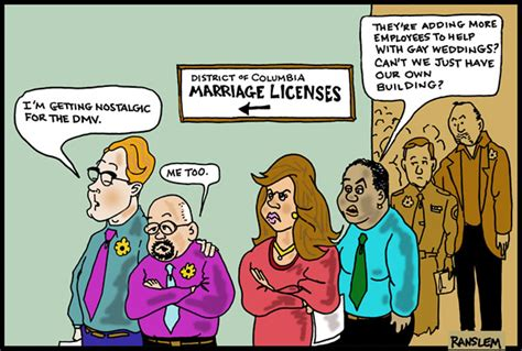 Cartoon Long Lines Same Sex Marriage Gay Marriage
