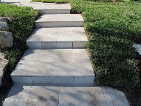 ivory tumbled travertine pavers as stairs modern pool