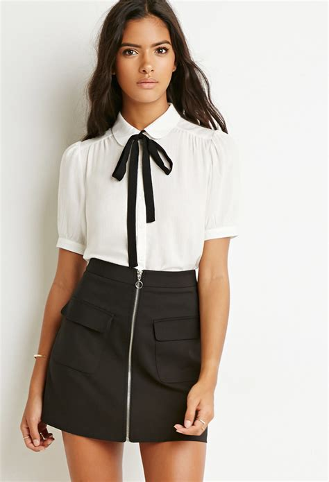 blouse with bow collar forever 21 pan collar bow blouse in black lyst