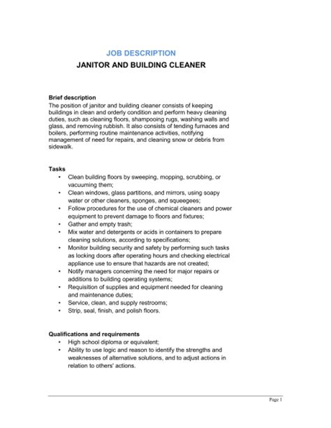Cleaning Description For Resume by Janitor And Building Cleaner Description Qualifications And Requirements