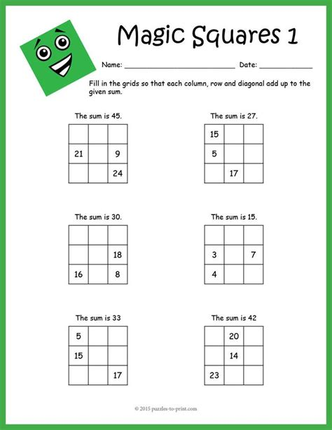 magic squares worksheets columns the o jays and paper