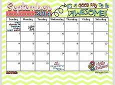 September 2014 Calendar Its a good day to be Awesome