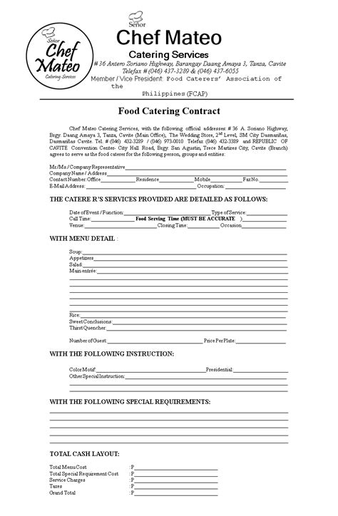 food catering contract templates  allbusinesstemplatescom