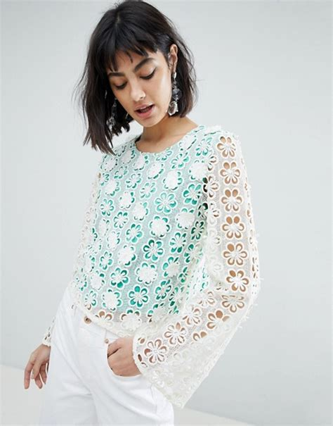 river island fluted sleeve flower applique top asos