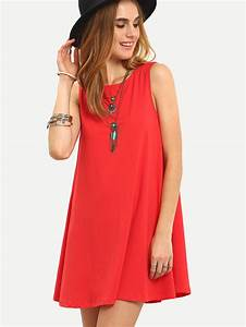 robe dos lacets sans manche rouge french romwe With robe trapeze rouge
