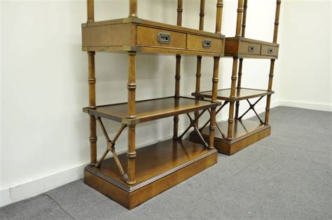 Pair Of Hollywood Regency Faux Bamboo Campaign Style