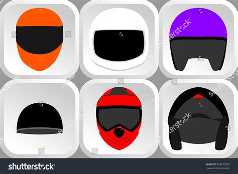 Set Of Different Types Of Bikers Helmets Front View Stock