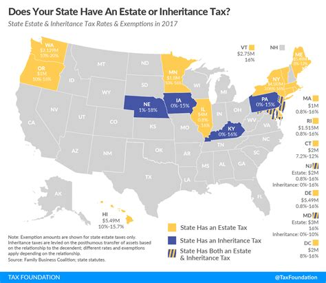 estate tax state inheritance taxes states rates map does foundation exemption jersey death law maryland income federal exemptions level taxfoundation