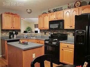 Stone kitchen backsplash how to nest for lesstm for Kitchen backsplash pictures with oak cabinets