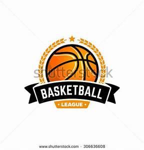 Vector basketball league logo with ball. Sport badge for ...