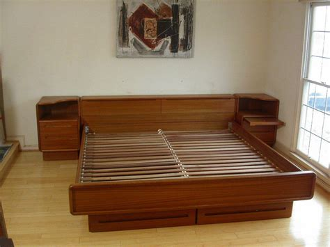 queen danish modern teak platform bed storage drawers