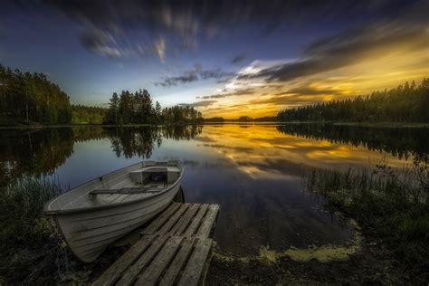 Beautiful Winter Landscape Wallpaper Wallpaper Lake Boat Ringerike Norway 4k Nature 4260