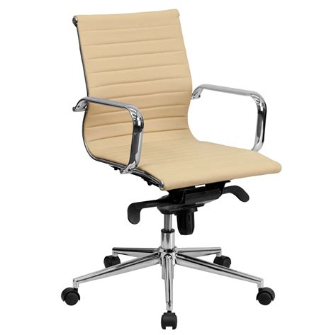 mid back ribbed upholstered leather conference chair