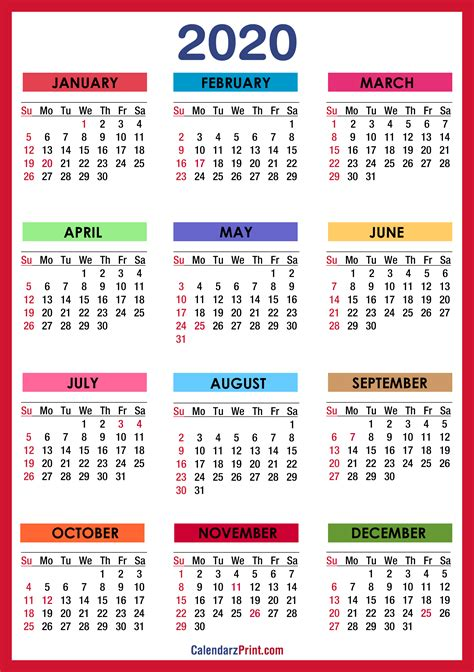 calendar  holidays printable  colorful red