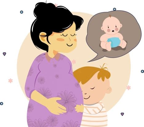 motherhood drawing pregnant woman baby icons colored