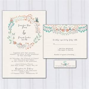 owl wedding invitations floral boho wedding invitation With diy owl wedding invitations