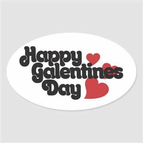 Happy Galentines Day Oval Sticker | Zazzle.com in 2020 ...