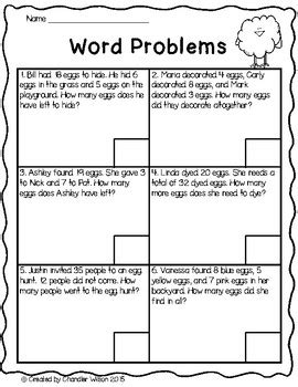 easter egg mixed addition and subtraction word problems freebie tpt