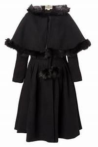 40s Gretel Vintage Hooded Cape Coat In Black