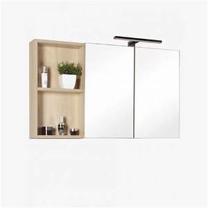 Miroir Salle De Bain Rangement : aquazur meuble salle de bain haut double miroir et rangement avec led 90cm ~ Teatrodelosmanantiales.com Idées de Décoration
