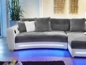 sofa weiss grau multimedia sofa 322x200cm grau weiß mikrofaser hifi wohnlandschaft larenio ebay