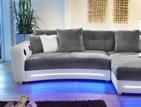 Multimedia Sofa 322x200cm Grau Weiß Mikrofaser Couch Hifi