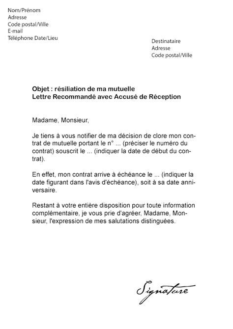 modele lettre resiliation mutuelle suite deces modele lettre resiliation contrat prevoyance