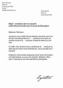 Lettre Type Résiliation Assurance Auto : lettre de r siliation pour une mutuelle mod le de lettre ~ Gottalentnigeria.com Avis de Voitures