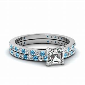 asscher cut petite diamond wedding ring set with blue With asscher cut wedding ring set