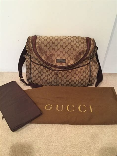 authentic designer gucci baby diaper bag gg brown  changing pad  ebay