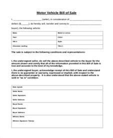 Motor Vehicle Bill Sale Form as Is