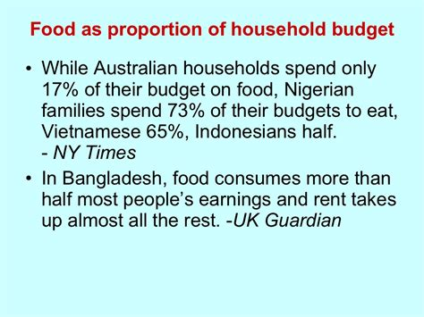 proportion cuisine food as proportion of household