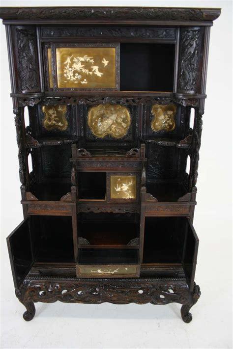 Antique Japanese Black Laquered Inlaid Shadona Display