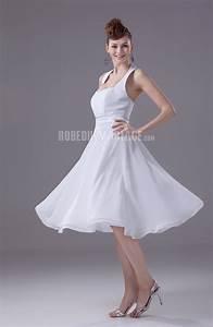 Robe Mi Longue Mariage : bretelle au cou robe de mariage civile ceinture mi longue chiffon robe209700 ~ Melissatoandfro.com Idées de Décoration