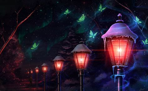 Anime Magic Wallpaper - tree butterfly lantern light magic animal anime wallpaper