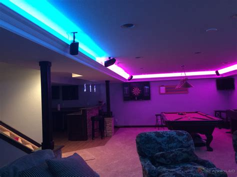 man cave game room led lighting contemporary family