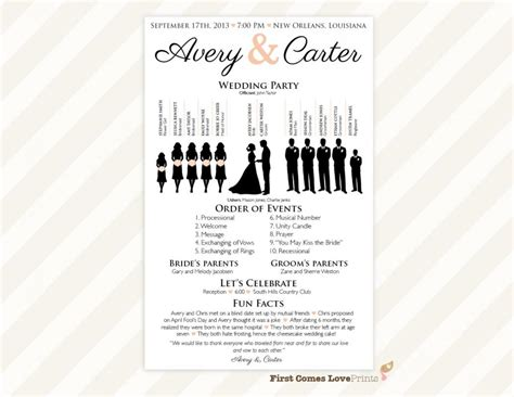 one page wedding program template template business