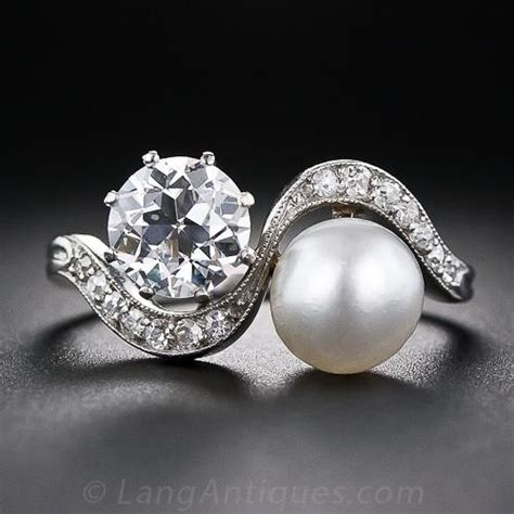 carat diamond  natural pearl edwardian twin ring