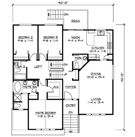 split level home plan  narrow lot jd st floor