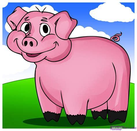 draw  cartoon pig step  step cartoon animals