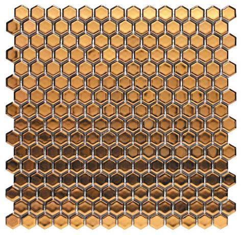 Home Depot Merola Hex Tile by Merola Tile Bits Hex Gold Porcelain Mesh Mounted Mosaic