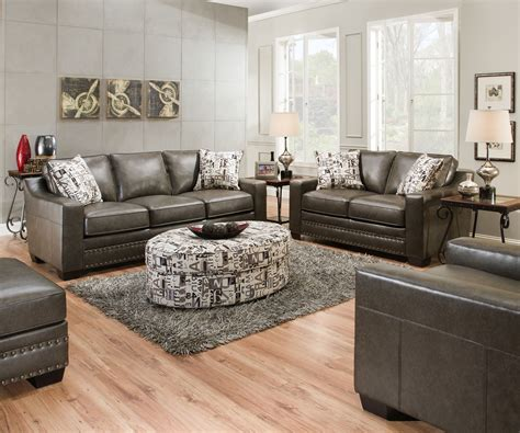 Slate Grey Sofa Living Room Decor : Slate Gray Sofa & Love Seat W/ Nailhead Trim Transitional