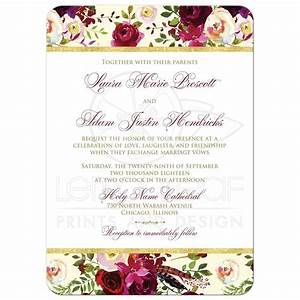 beautiful burgundy watercolor florals wedding invitation With maroon watercolor wedding invitations