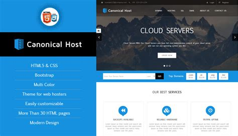 canonical host responsive htmlcss hosting template