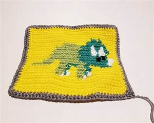 Triceratops Baby Blanket Square  Quilt Square Crochet