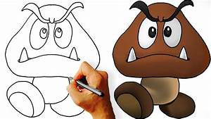 How to Draw Goomba (Super Mario) Step by Step - YouTube