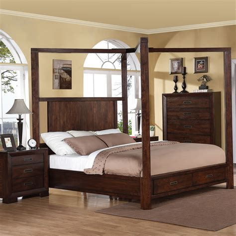 wood canopy bed riata wood canopy storage bed in warm walnut humble abode